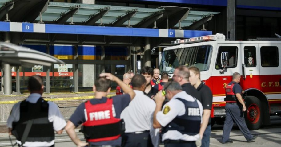 Emergency personnel respond to reports of an active shooter situation Thursday near Fountain Square in downtown Cincinnati.