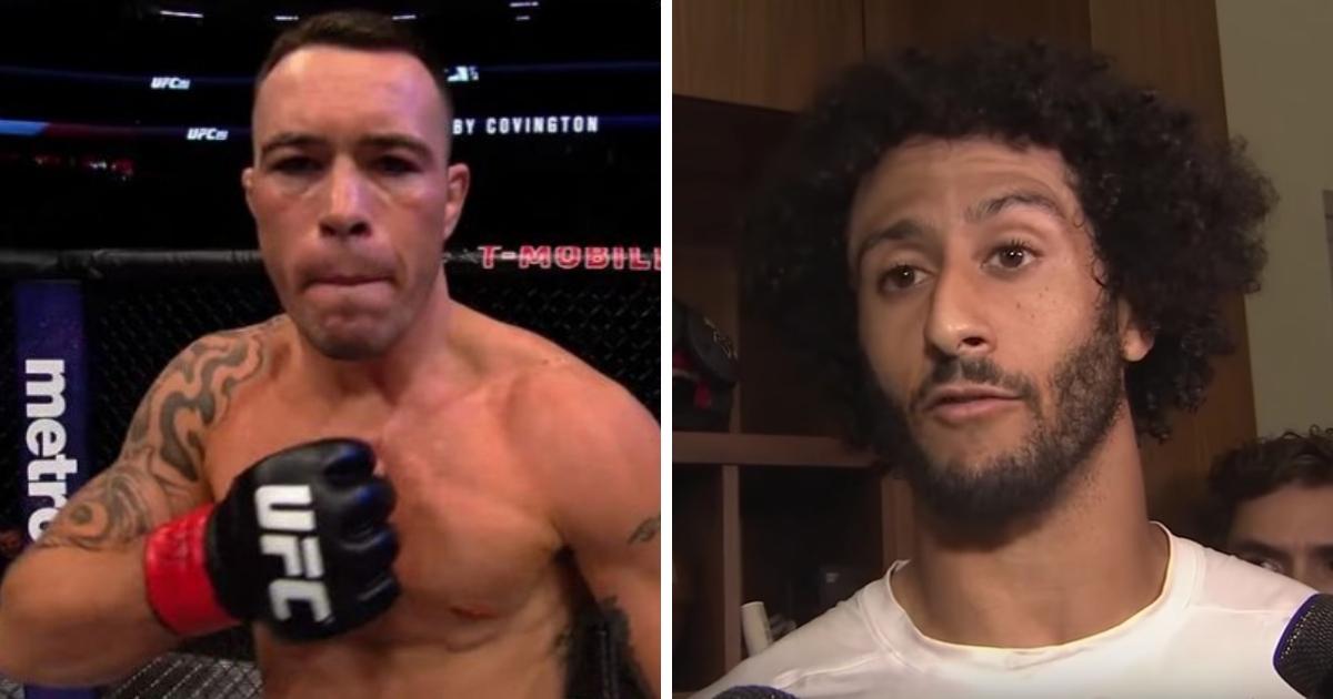 Images of UFC fighter Colby Covington, left, and former 49ers quarterback Colin Kaepernick.