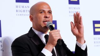 Sen. Cory Booker speaks at the 22nd annual Human Rights Campaign National Dinner at the Walter E. Washington Convention Center on Sept. 15, 2018 in Washington, D.C.