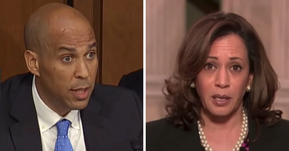 Sens. Cory Booker, left, and Kamala Harris each did their best to disrupt the confirmation hearing of Supreme Court nominee Brett Kavanaugh.