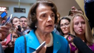 Sen. Dianne Feinstein responds to reporters' questions on Supreme Court nominee Brett Kavanaugh amid scrutiny of a woman's claim he sexually assaulted her at a party when they were in high school.