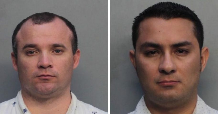 The mugshots of Fr. Diego Berrio, left, and Fr. Edwin Cortez after their arrest Monday in Miami.