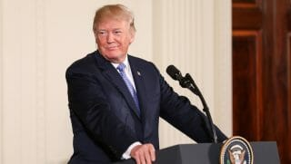 President Donald Trump speaks at a media conference.