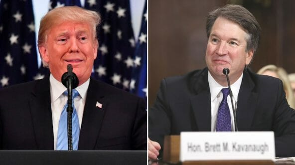 President Donald Trump at a media conference on Sept. 26, 2018, left. Brett Kavanaugh testifies before the Senate Judiciary Committee on Sept. 27, 2018, right.
