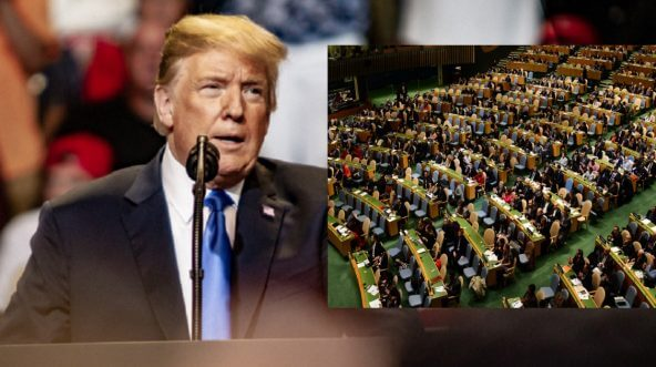 President Donald Trump standing at a podium, with a picture of the U.N. General Assembly inset