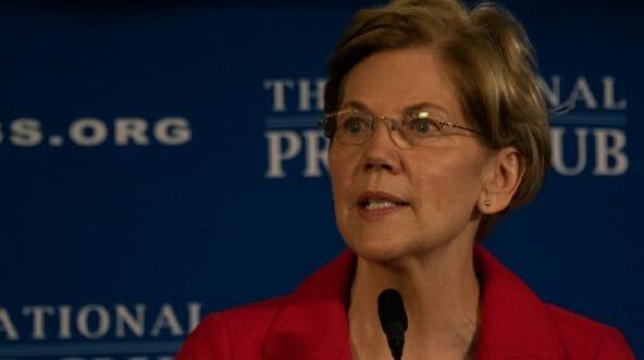 Massachusetts Sen. Elizabeth Warren is pictured speaking the the National Press Club on Aug. 21.