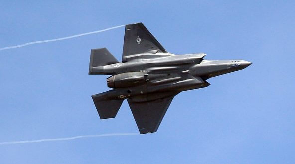 An F-35 jet arrives at its new operational base at Hill Air Force Base, in northern Utah in September 2015.