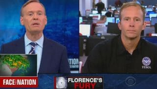 """Face the Nation's"" John Dickerson tilts his head while questioning FEMA Administrator Brock Long."