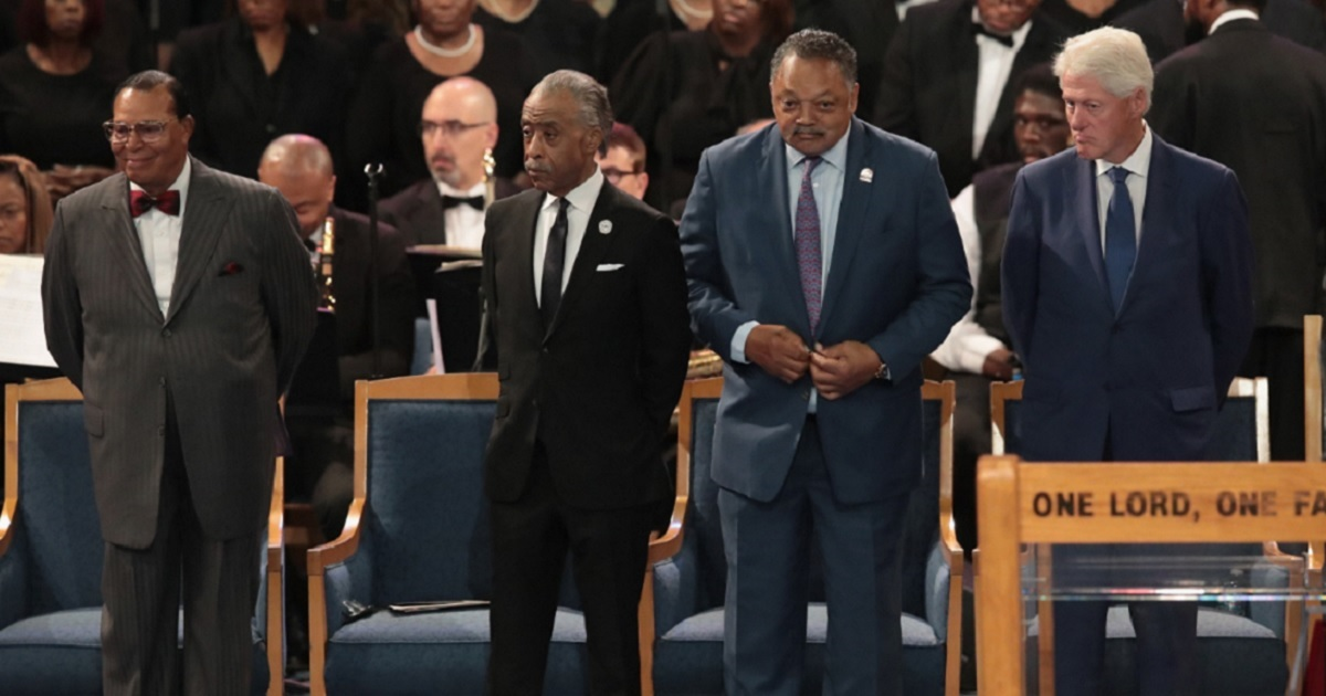 The Nation of Islam's Louis Farrakkhan, the Rev. Al Sharpton, the Rev. Jesse Jackson and former President Bill Clinton were seated in the front row of Aretha Franklin's funeral service on Friday. Many news organizations omitted Franklin's presence from their coverage.