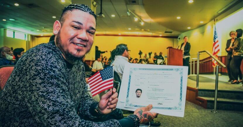 Seattle Mariners pitcher Felix Hernandez celebrates becoming an American citizen.