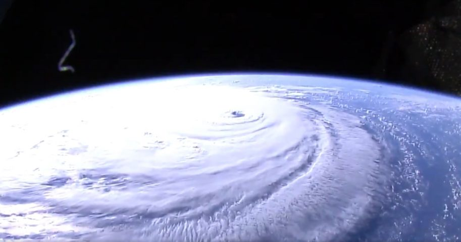 Hurricane Florence in the Atlantic Ocean as viewed from the International Space Station.