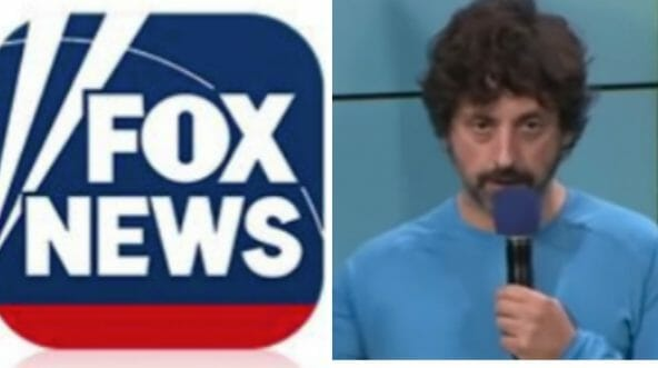 The Fox News logo is pictured alongside Google co-founder Sergey Brin