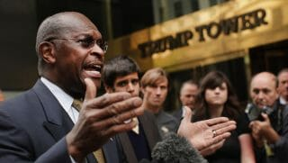 Herman Cain speaks during the final day of the Republican Leadership Conference on May 31, 2014, in New Orleans.