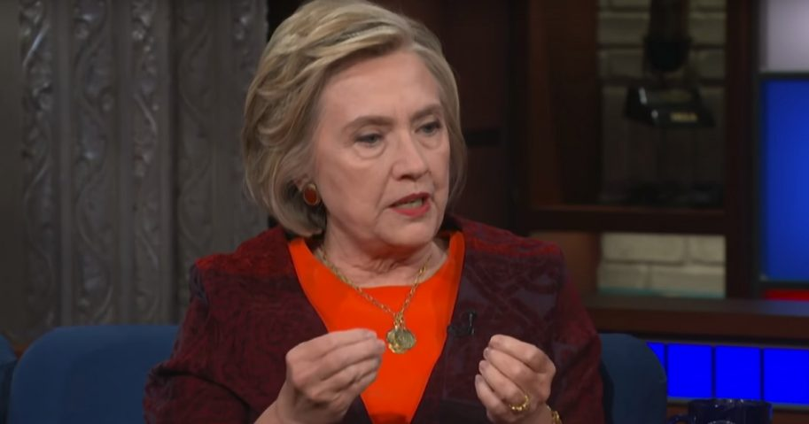 """Former Democrat presidential candidate Hillary Clinton talks with host Stephen Colbert on CBS' """"The Late Show."""""""