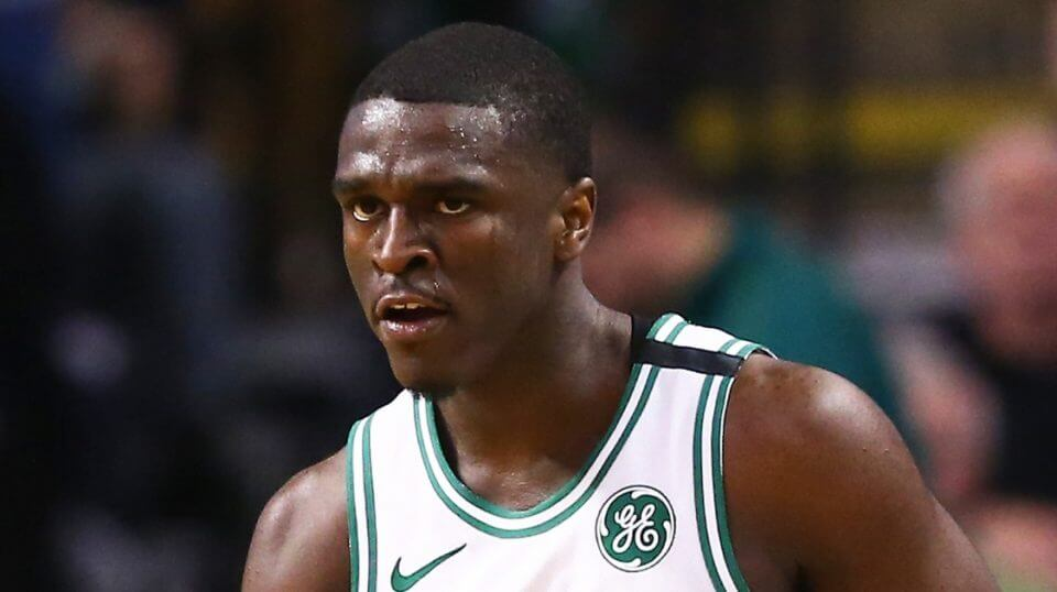 Jabari Bird of the Boston Celtics looks on during a game against the Chicago Bulls at TD Garden on April 6.