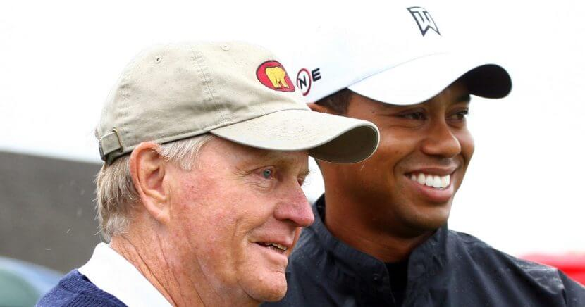 Jack Nicklaus, left, and Tiger Woods pose before the first round of the 2009 Memorial Tournament in Dublin, Ohio.