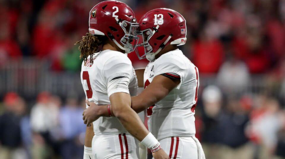 University of Alabama quarterbacks Jalen Hurts, left, and Tua Tagovailoa, right, during the 2018 College Football Playoff Championship