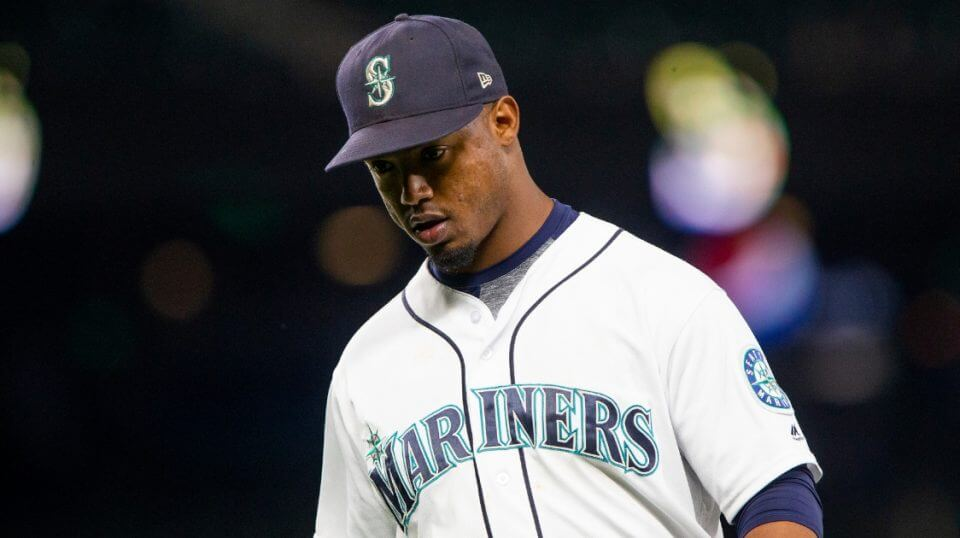 Jean Segura of the Seattle Mariners walks off the field after the top of the seventh inning, in which Baltimore Orioles scored four runs at Safeco Field in Seattle on Tuesday.