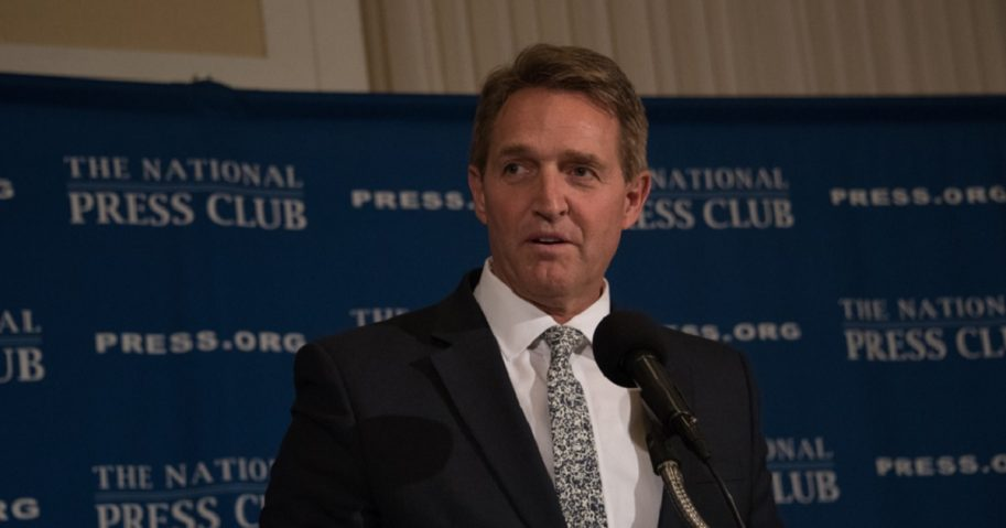 Arizona Sen. Jeff Flake delivers a speech in March at the National Press Club in Washington