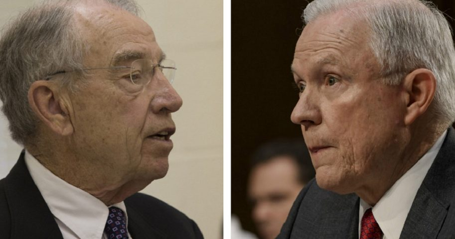 Sen. Chuck Grassley, left, and Attorney General Jeff Sessions, right.
