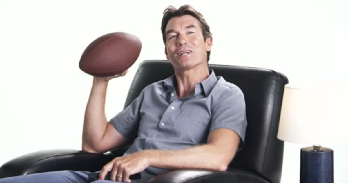 "Actor Jerry O'Connell holds a football in a trailer for ""Bravo's Play by Play."""