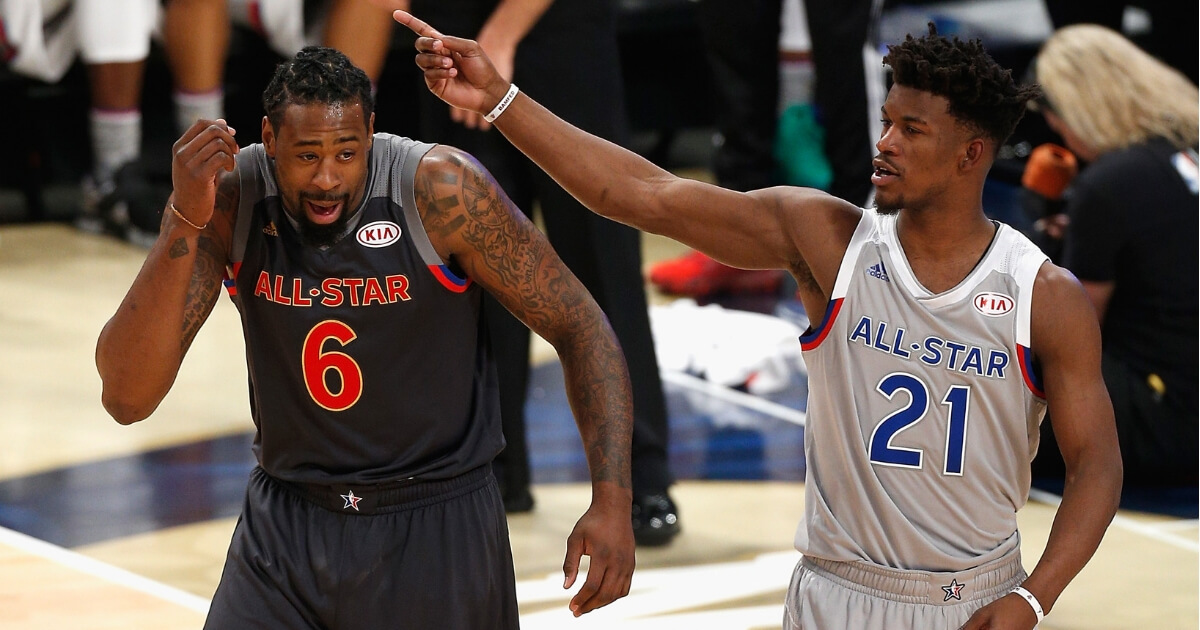 Jimmy Butler, right, with DeAndre Jordan during the 2017 NBA All-Star Game in New Orleans.