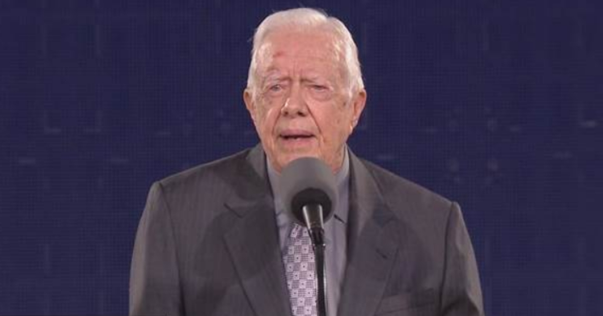 Former President Jimmy Carter during a speech at his presidential library.