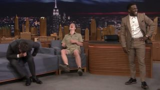 Jimmy Fallon, Robert Irwin, and Kevin Hart laugh.