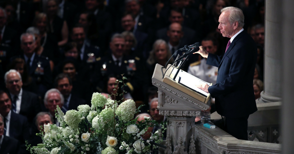 Former U.S. Sen. Joe Lieberman speaks during the funeral for U.S. Sen. John McCain at the National Cathedral in Washington, D.C., on Saturday.