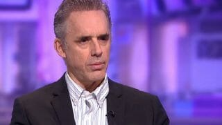 Jordan Peterson on the set of a British television show.