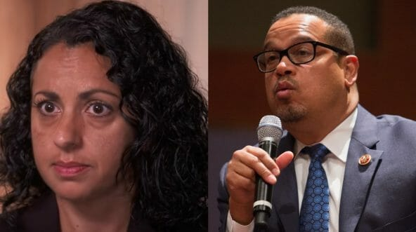 Karen Monahan, left, claims leads of the Democratic party have ignored her allegations of domestic violence at the hands of Minnesota Rep. Keith Ellison, right.