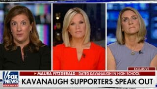 Two former girlfriends of Supreme Court nominee Brett Kavanaugh, Maura Fitzgerald, left, and Maura Kane, right, spoke to Fox News' Martha MacCallum, center, on Monday.