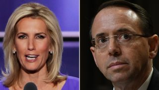 Fox News host Laura Ingraham and Deputy Attorney General Rod Rosenstein.