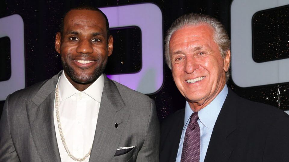 LeBron James, left, poses with Pat Riley during a 2014 awards banquet in Hollywood, Florida.