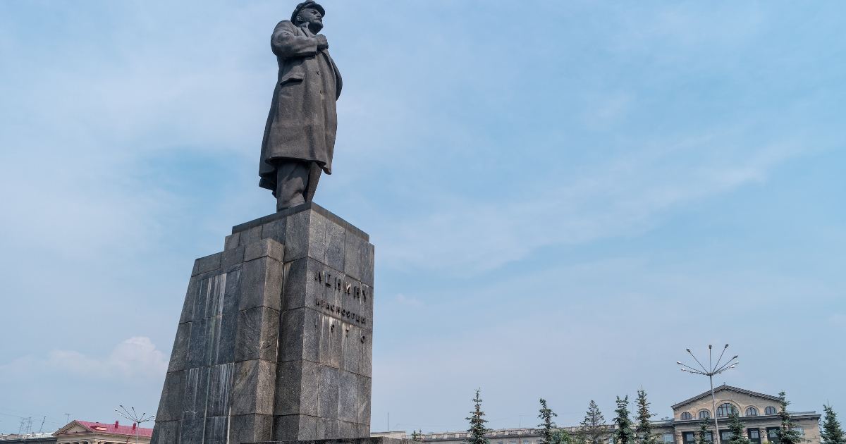 The monument to Vladimir Lenin at the square of the revolution in Russia.