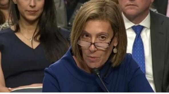 Attorney Lisa Blatt speaks on behalf of Supreme Court nominee Judge Brett Kavanaugh in front of the Senate Judiciary Committee.