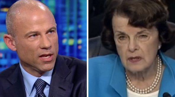 Attorney Michael Avenatti, left, and California Sen. Dianne Feinstein, right.