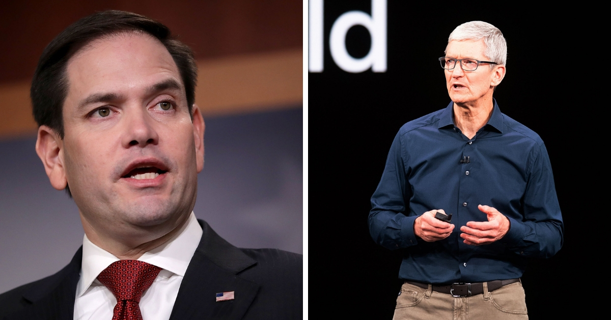 Sen. Marco Rubio, left, and Apple CEO Tim Cook, right.