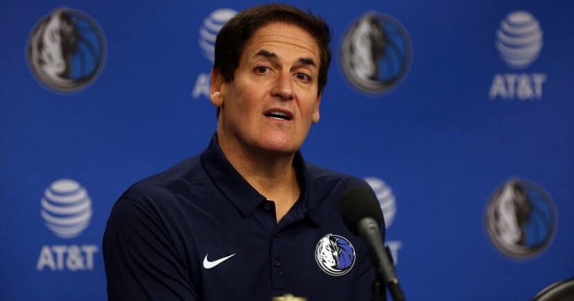Team owner Mark Cuban looks on during a press conference to introduce Cynthia Marshall as the new Dallas Mavericks Interim CEO at American Airlines Center on Feb. 26, 2018, in Dallas, Texas.