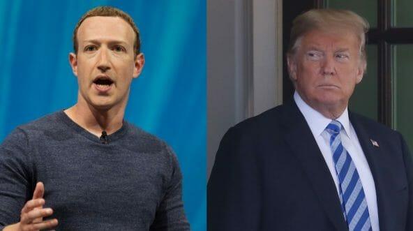 Mark Zuckerberg next to Donald Trump