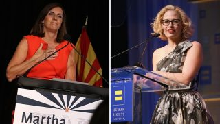 U.S. Senate candidate Rep. Martha McSally, left, and Senate candidate Rep. Krysten Sinema, right.