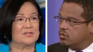 Sen. Mazie Hirono, left; Rep. Keith Ellison, right