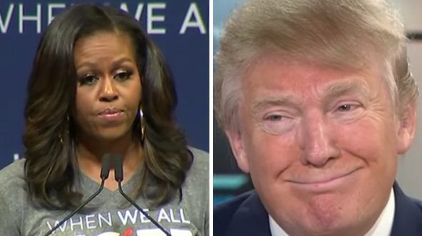 Side-by-side images of Michelle Obama and President Donald Trump