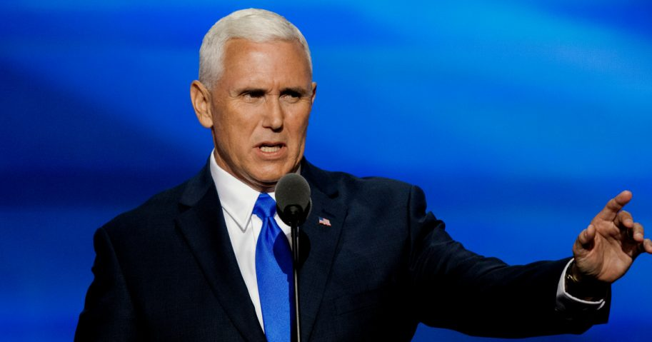 Republican Governor and now Vice President Mike Pence addressed the Republican National Convention in the Quicken Arena in Ohio in 2016.