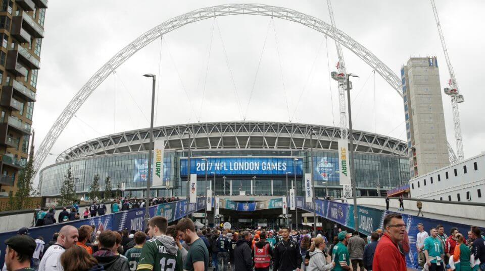 Fans arrive at Wembley Stadium in London prior to kickoff of the Oct. 1, 2017, game between the Miami Dolphins and the New Orleans Saints.