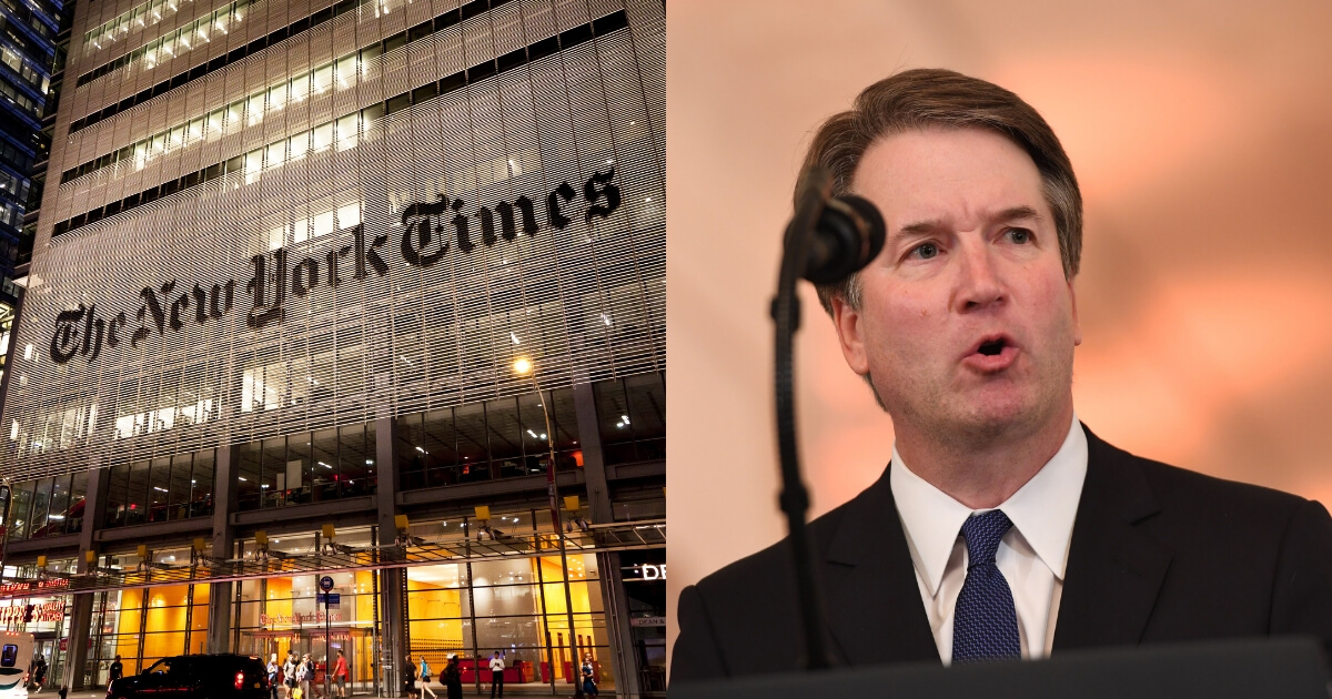 The New York Times headquarters, left, and Supreme Court nominee Brett Kavanaugh, right.