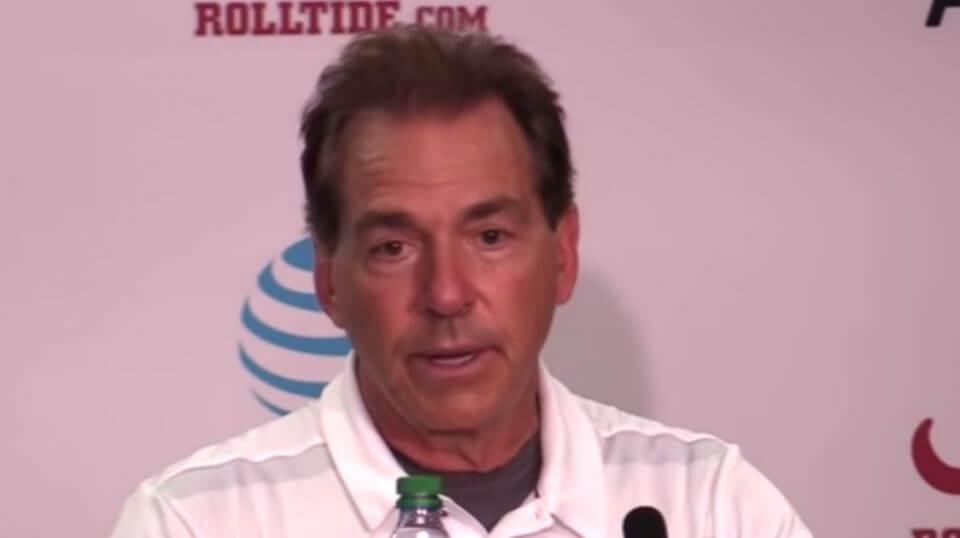 Alabama coach Nick Saban talks to the media after his team's win over Texas A&M