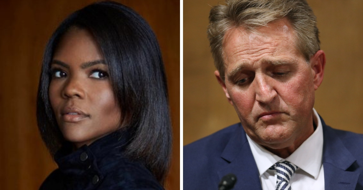 Conservative commentator Candace Owens, left, and Sen. Jeff Flake, right.