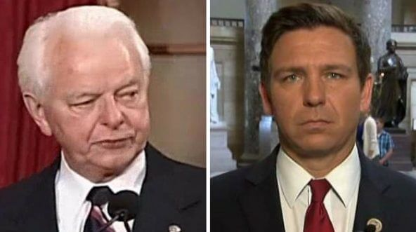 Images of former Tennessee Sen. Robert Byrd, left, and Florida Rep. Ron DeSantis