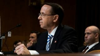 Deputy Attorney General Rod Rosenstein testifies during a Senate appropriations hearing in June 2017